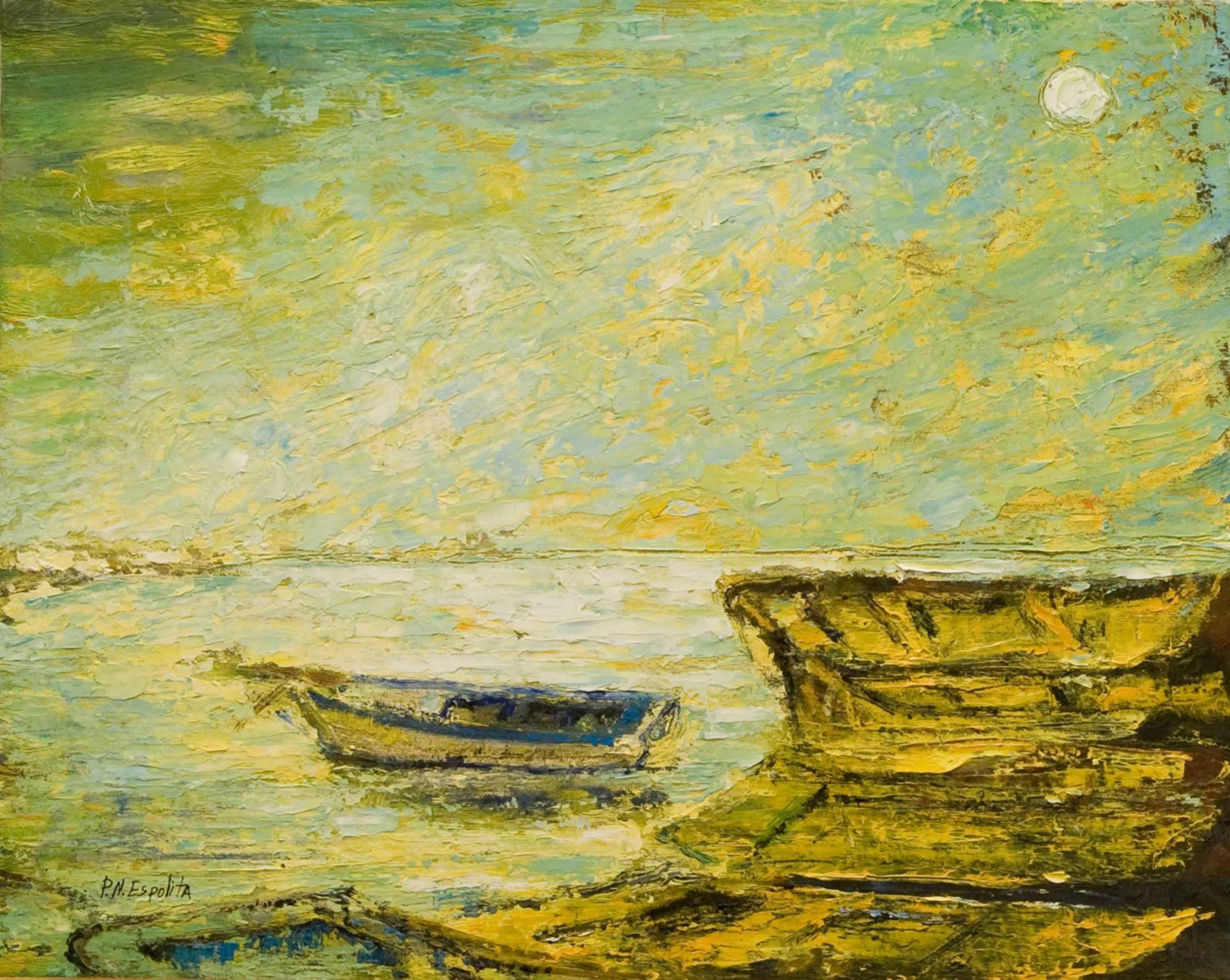 paisaje con barcas