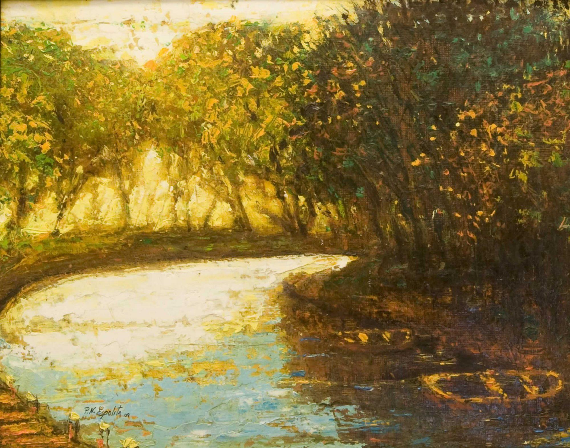 paisaje con río y barcas