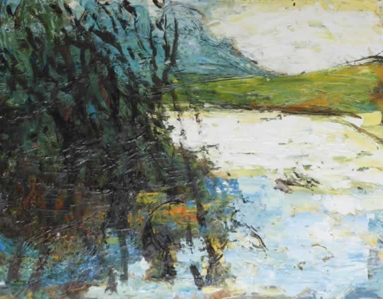 paisaje con río y montañas