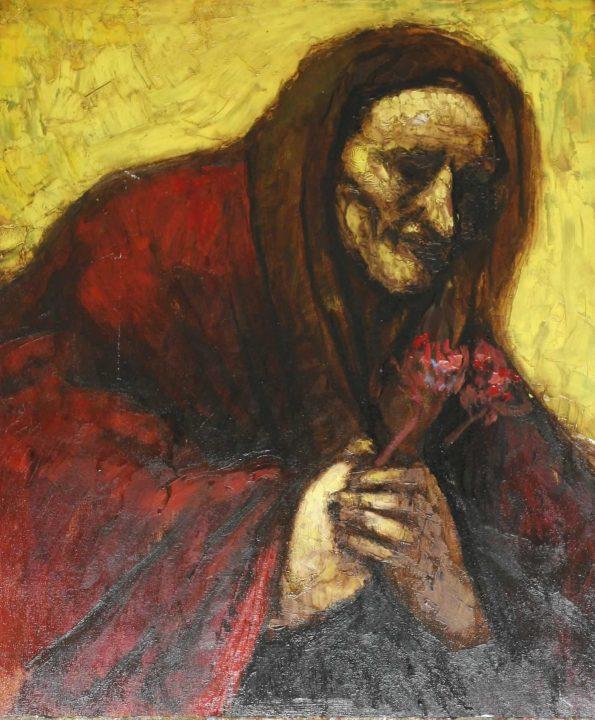 vieja con flores